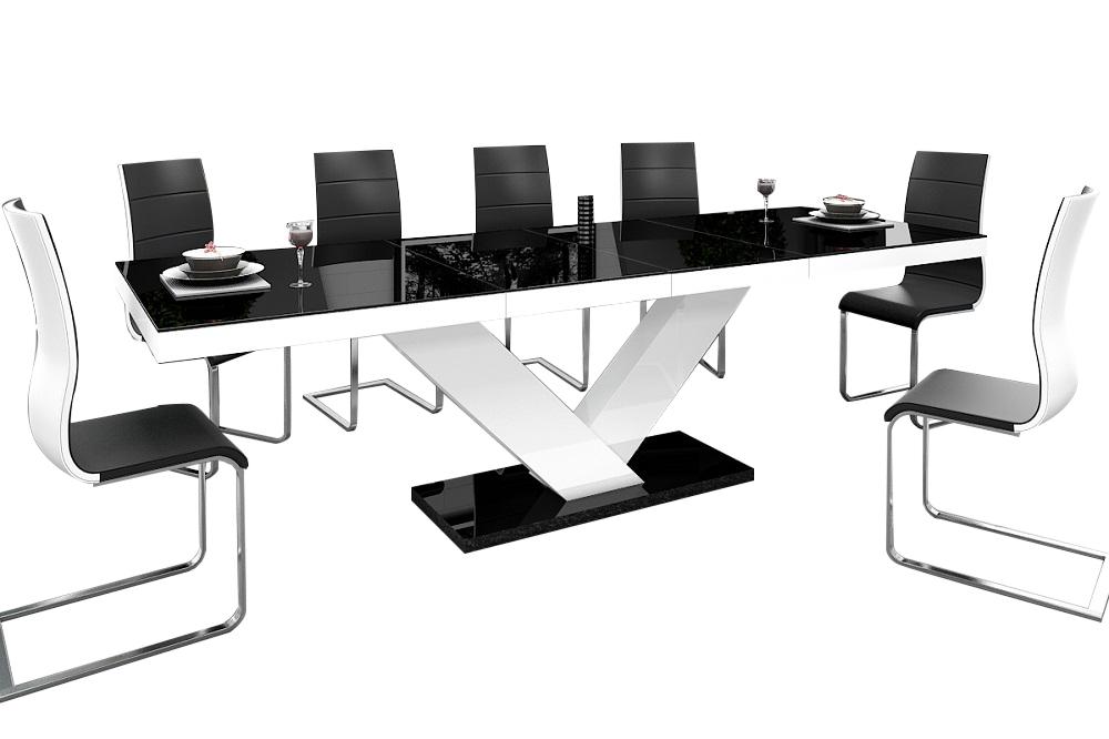 Zwart Wit Hoogglans Eettafel.Uitschuifbare Eettafel Victoria 160cm Tot 256cm Hoogglans Zwart